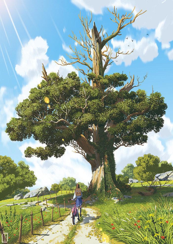 актуальные картинка большого дерева в рисунках семья