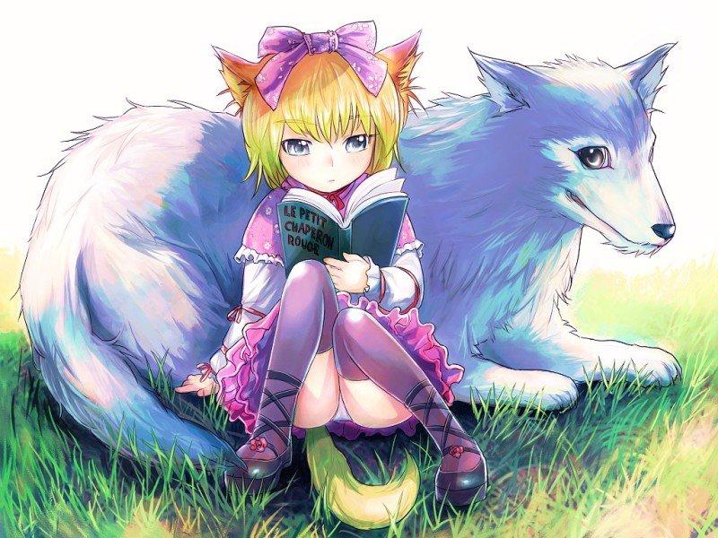 Аниме картинки девушки с ушками и хвостами лисы