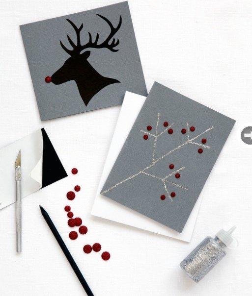 Простенькая открытка своими руками на новый год, открытка день рождения