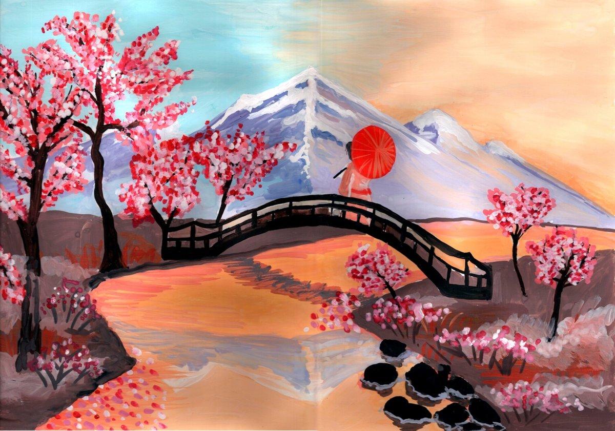придают рисунок в японском стиле сакура взяла этот