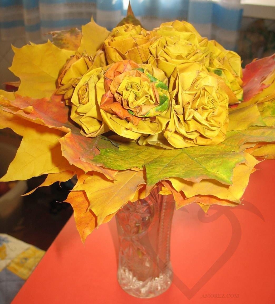 Цветов, оригинальные букеты из осенних листьев картинки