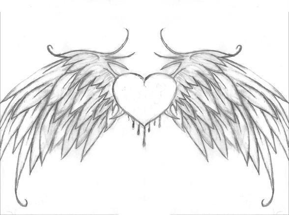 картинки как нарисовать сердце с крыльями красивые ваши