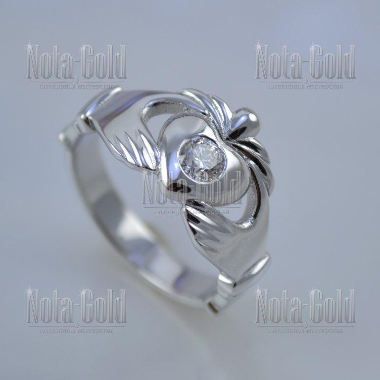 d74bc73d6424 Кладдахское кольцо из белого золота с бриллиантом (Вес  4,5 гр.) от ...