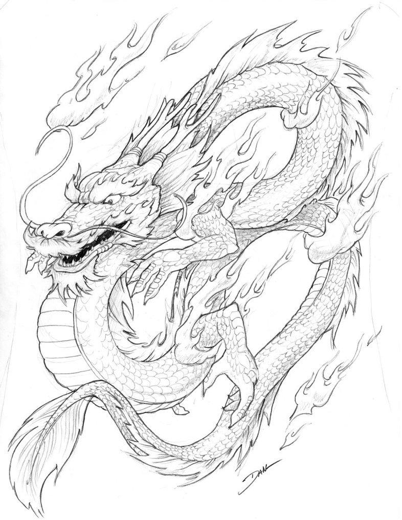 Картинки нарисованный карандашом китайский дракон