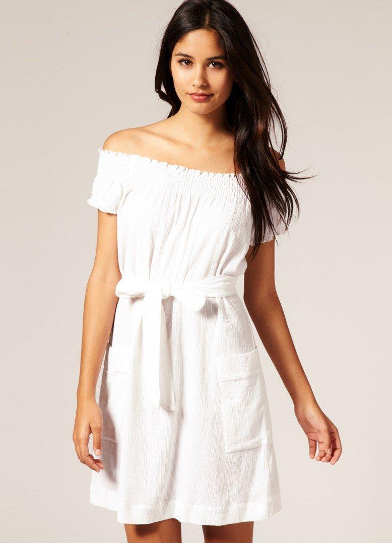 Модели платья из белого хлопка фото