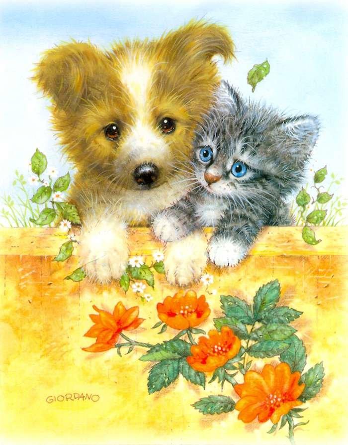 Открытка милые котята и щенята, весенние цветы картинки