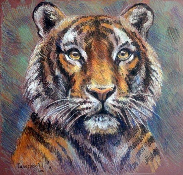 Хохломской росписью, картинки нарисованные цветные художниками с тигром
