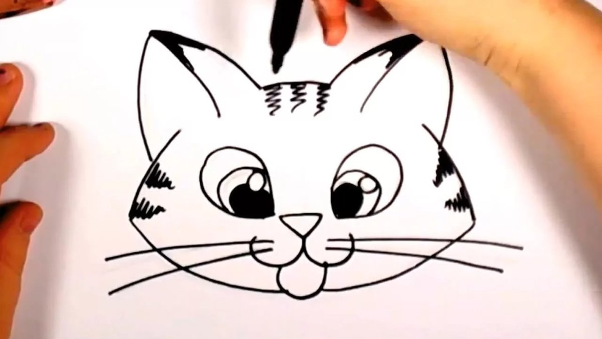 How To Draw A Cartoon Cat Face Clip Art Library Card From User
