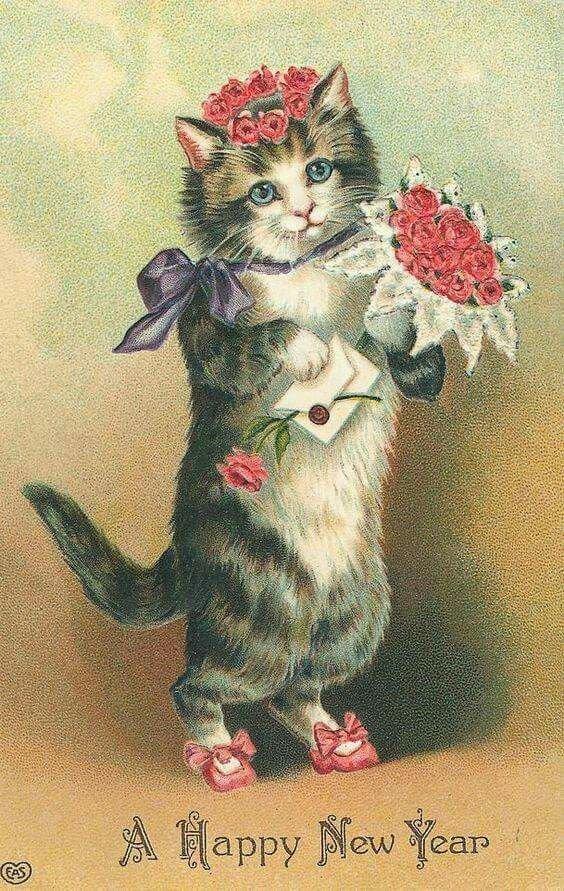 Поздравление с днем рождения открытка с котами