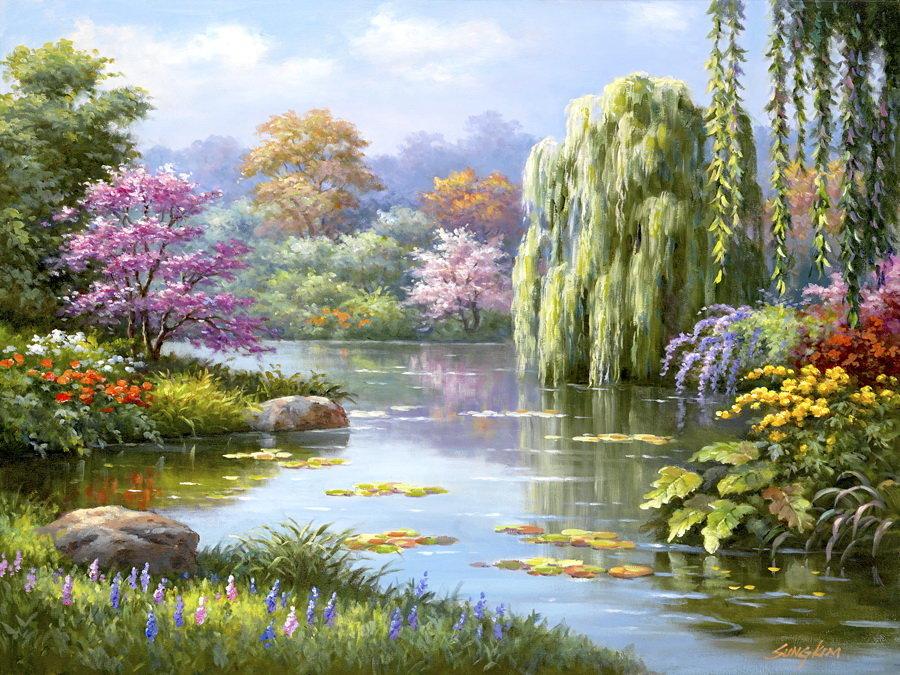 Клубникой, красивые открытки весенние пейзажи