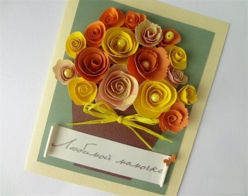 Букеты, самоделки открытка маму