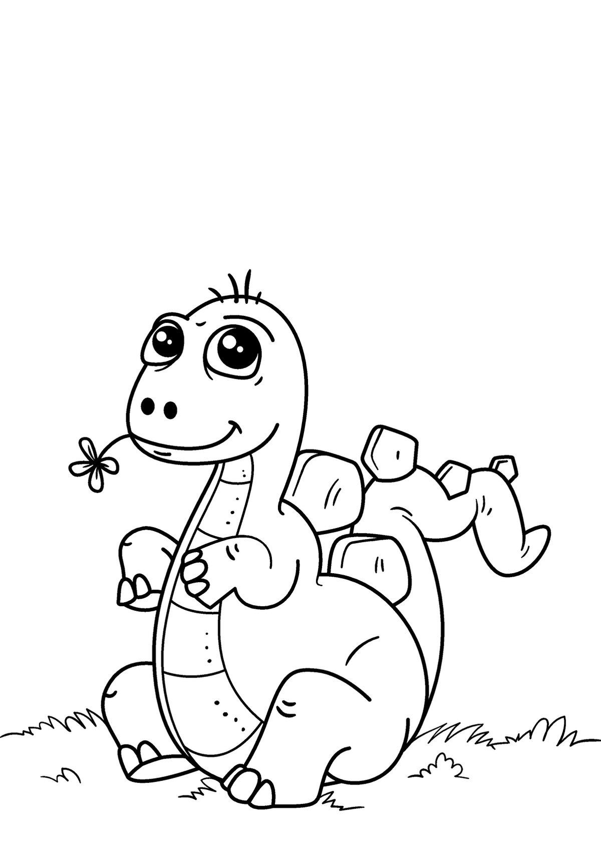 Раскраска милый динозаврик