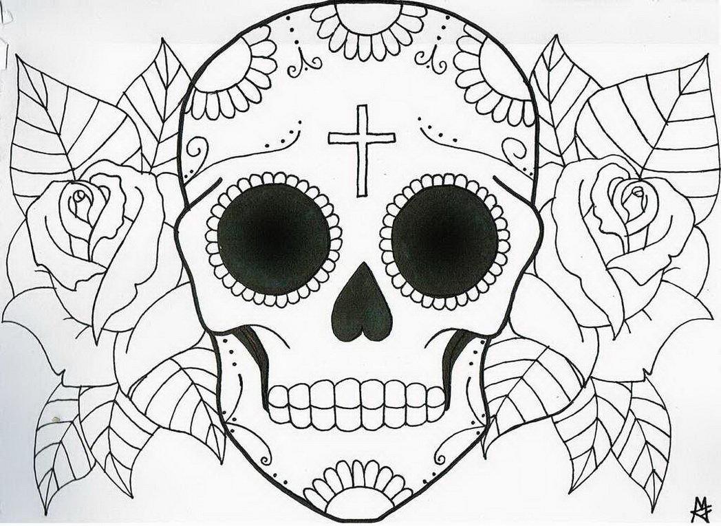 simple skull drawings - 1048×765
