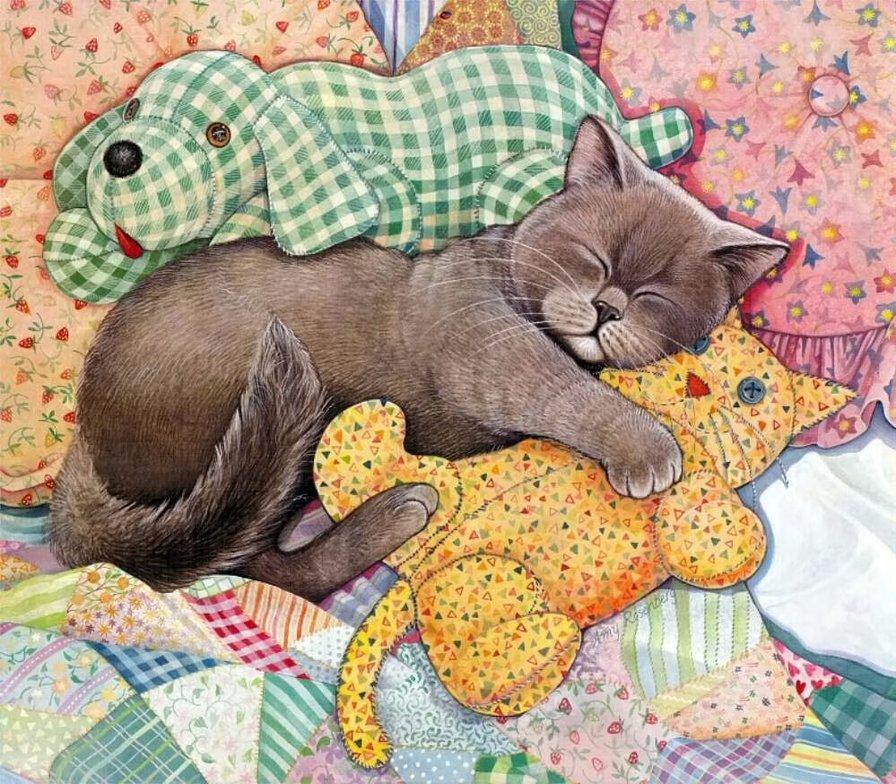 Открытка спящий кот, надписями про