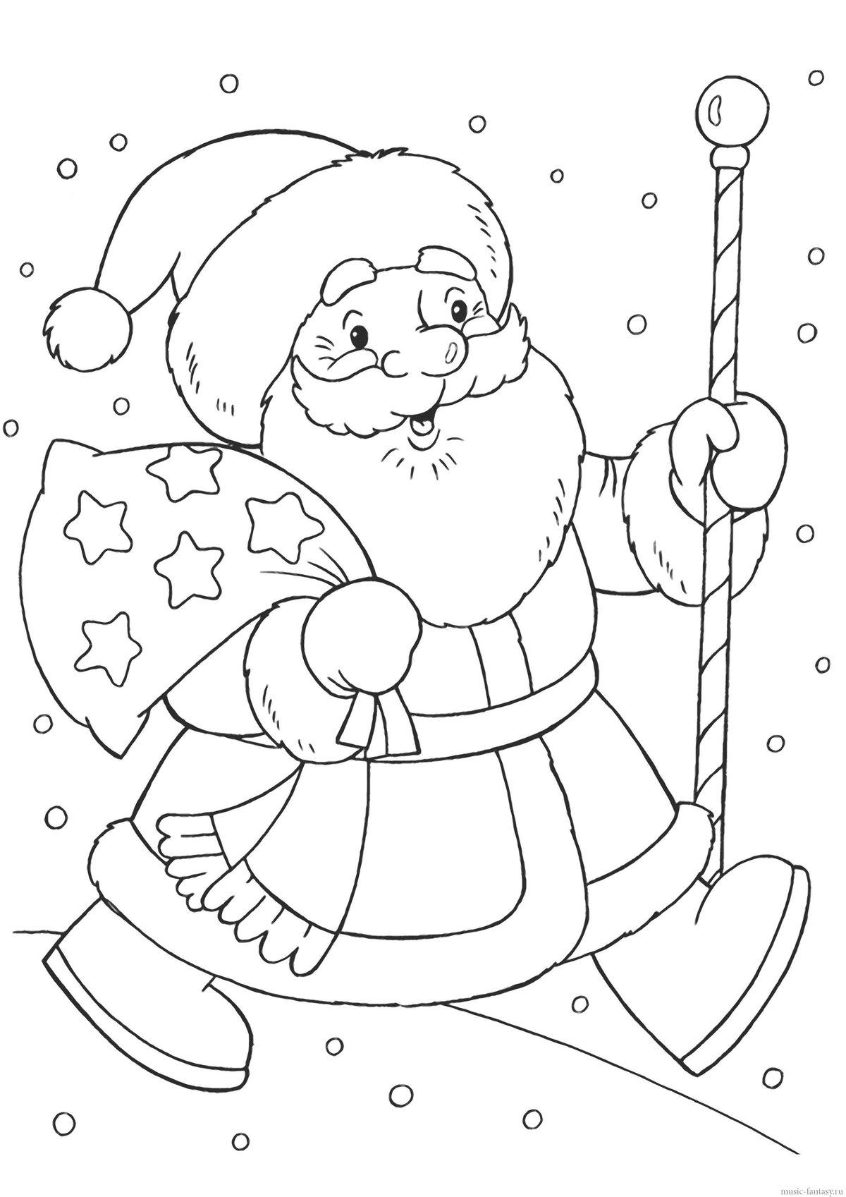 День, открытка распечатать раскраска на новый год