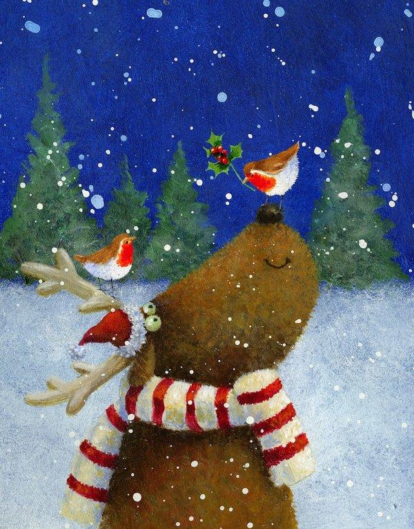 Для любимой, рисунок красками новогодняя открытка