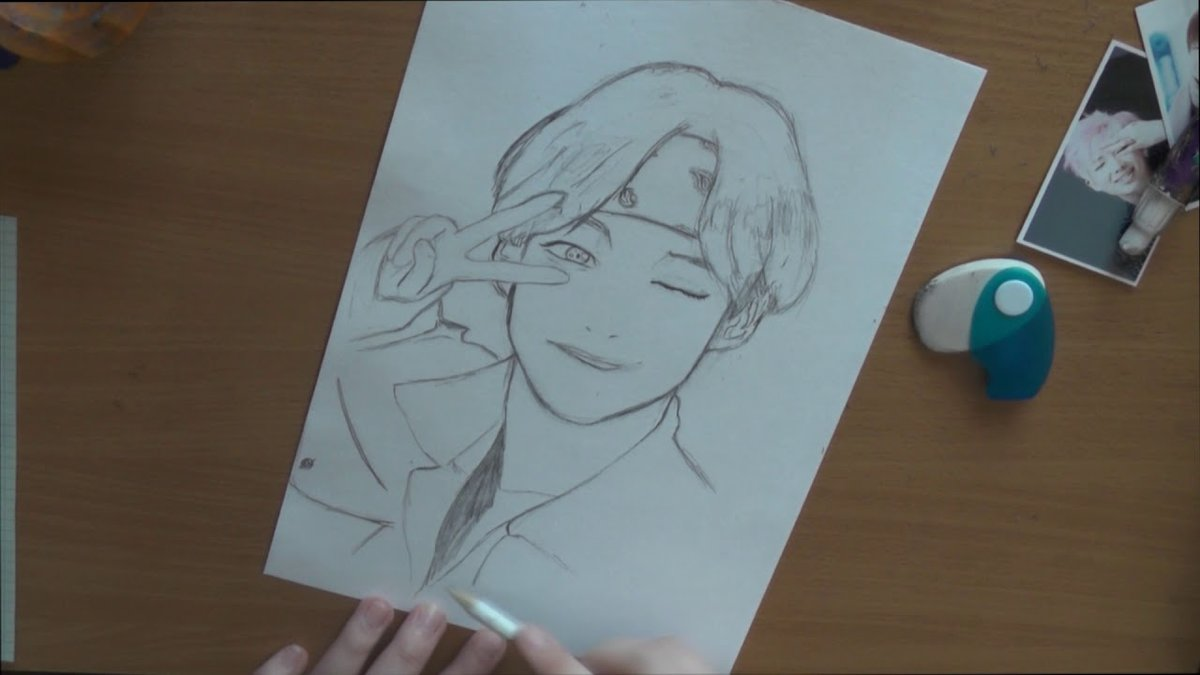Pencil Drawing Kim Taehyung From Bts V Anime Version к Card