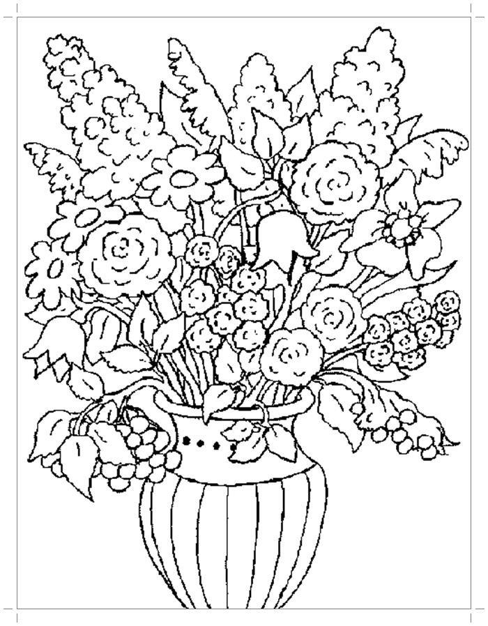 Открытка раскраска букет цветов