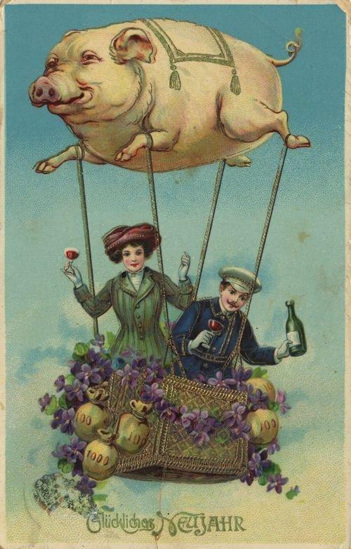 Дореволюционная открытка с новым годом свиньи, пол годом