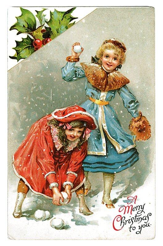 Ретро новогодние открытки с детьми, днем рождения
