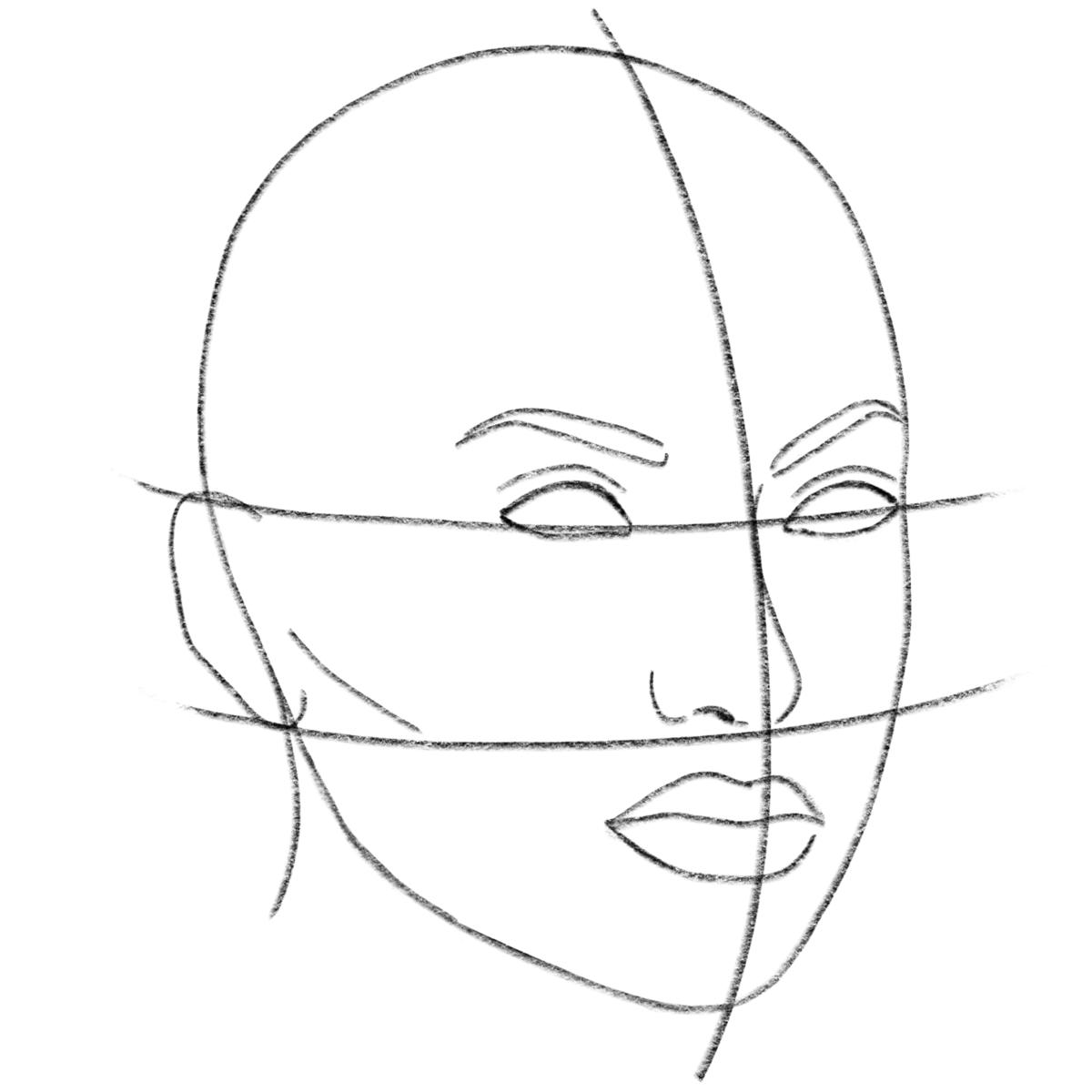 в картинках как нарисовать лицо человека поэтапно карандашом