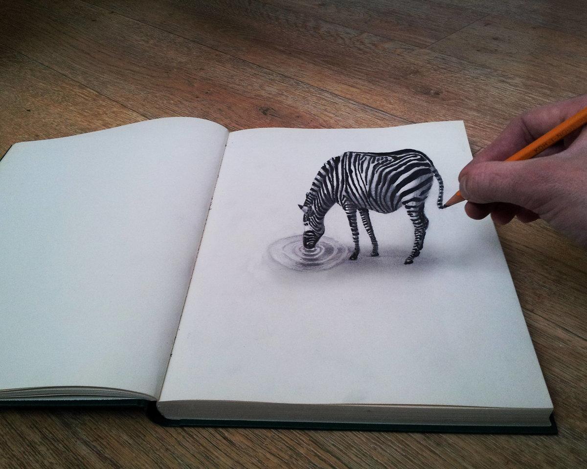 Прикольные рисунки карандашом 3д, открытки