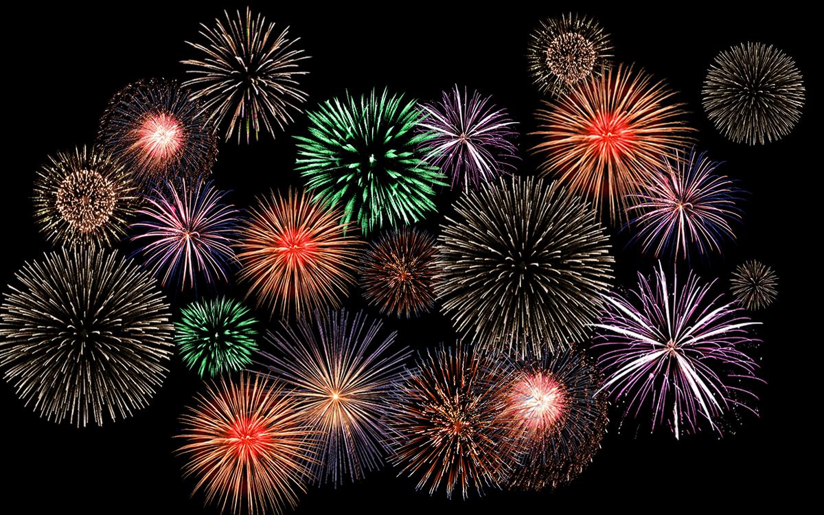 Новогодние картинки двигающиеся салюты и фейерверки