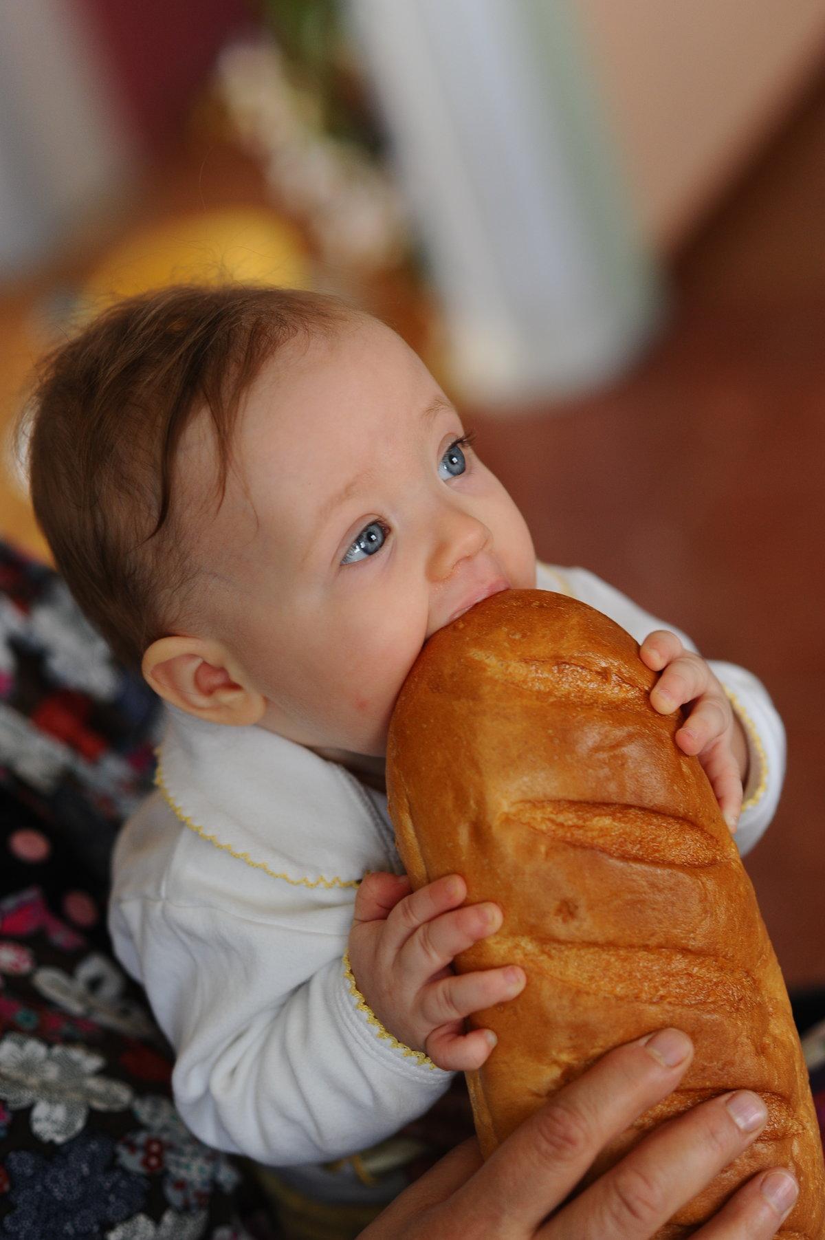 Ребенок ест булку картинка