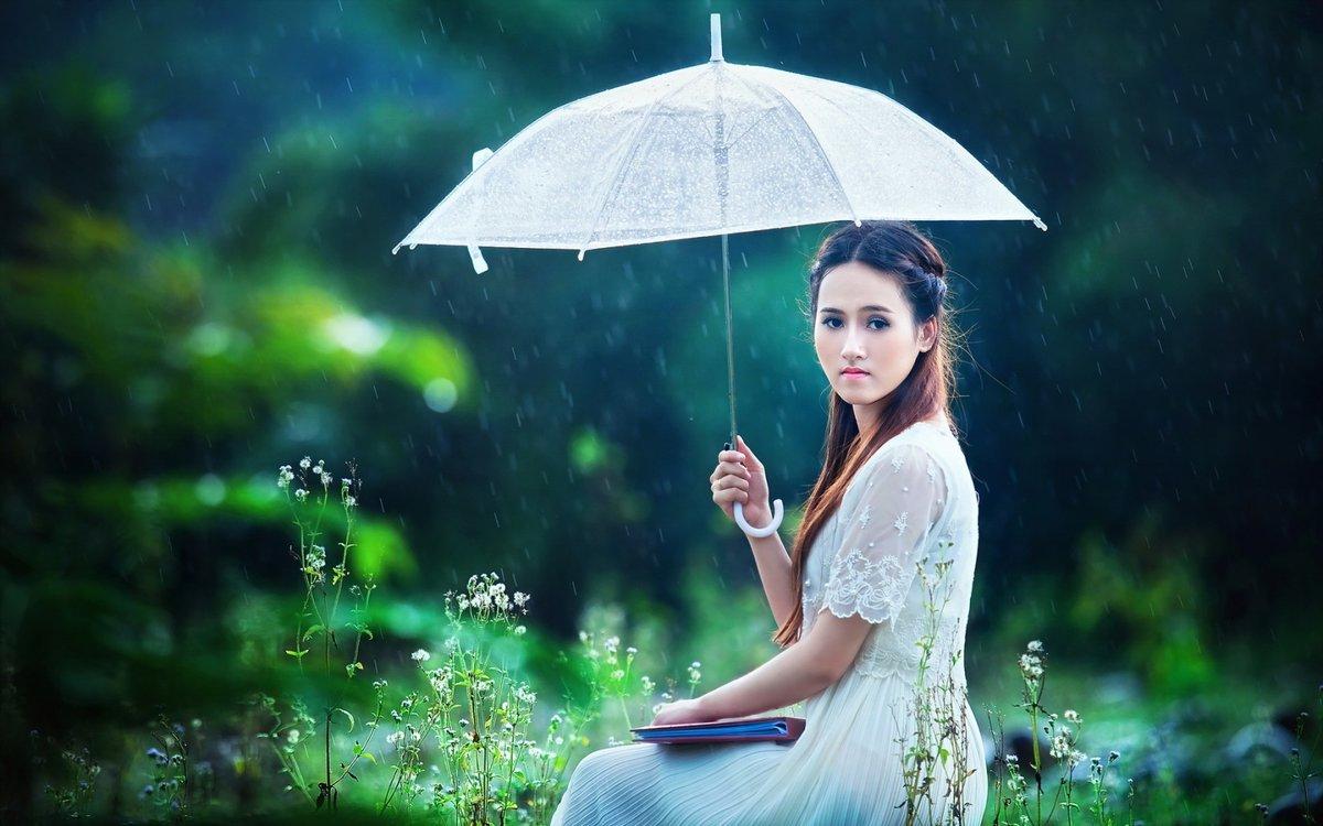 Картинка девушка с зонтом летом