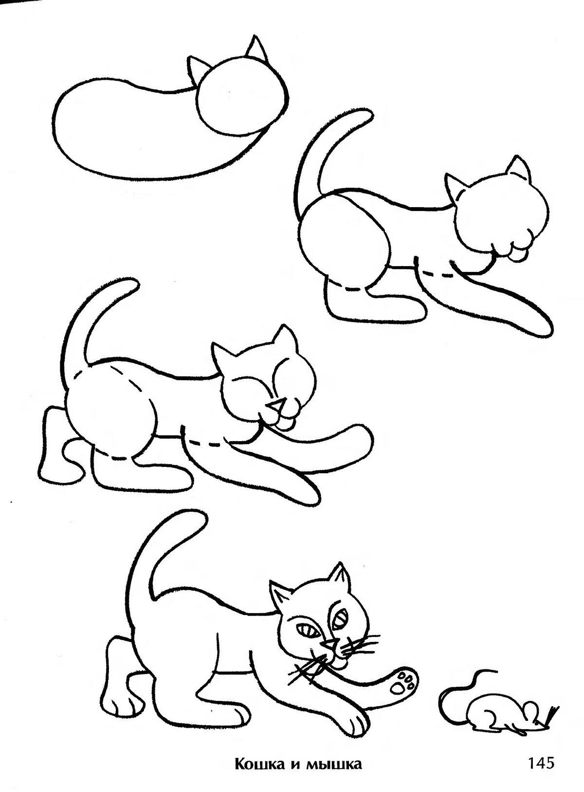 Картинки кошек рисуем поэтапно