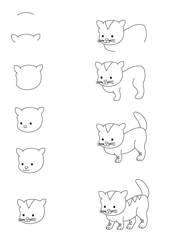 Кошки рисунки для детей карандашом, сделать