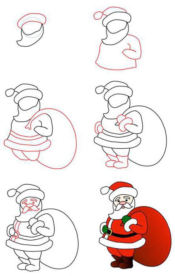 Открытки, поэтапно нарисовать новогодние открытки
