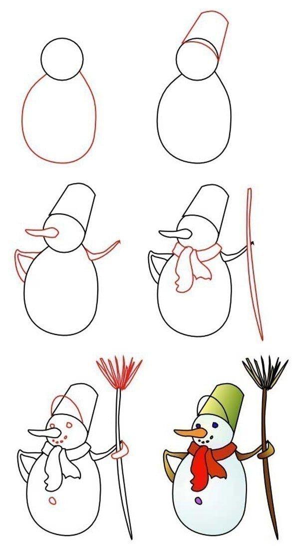 Как нарисовать открытку на новый год поэтапно