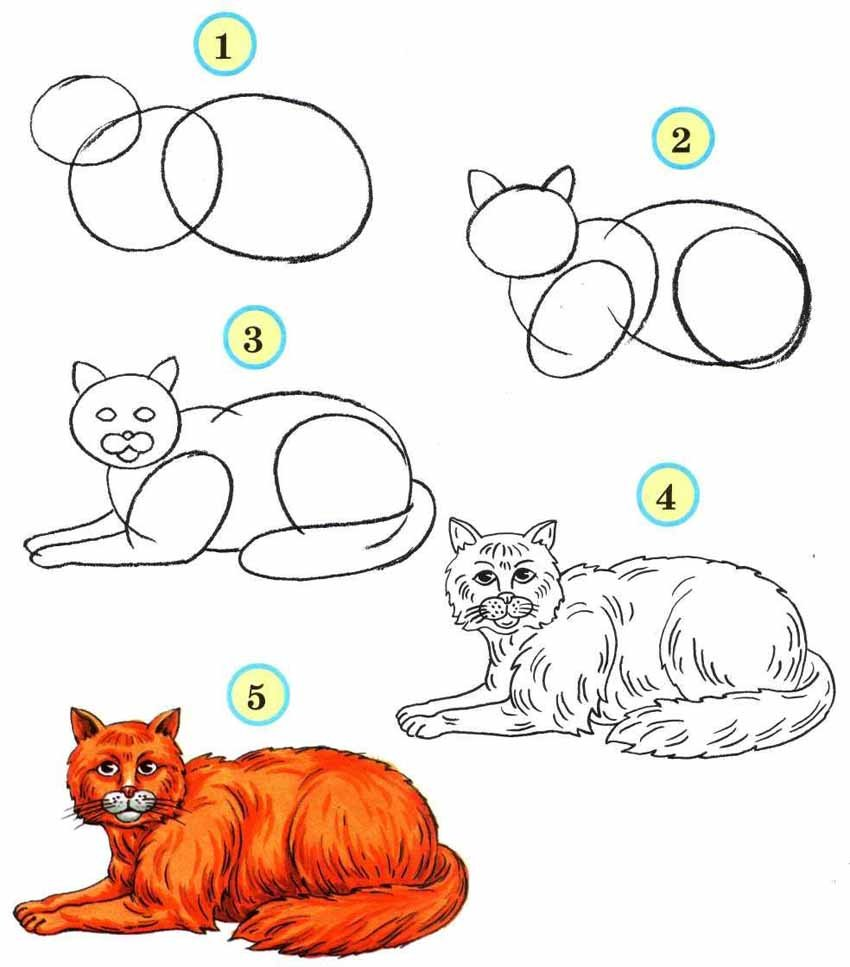 Картинки с животными нарисованные карандашом для детей
