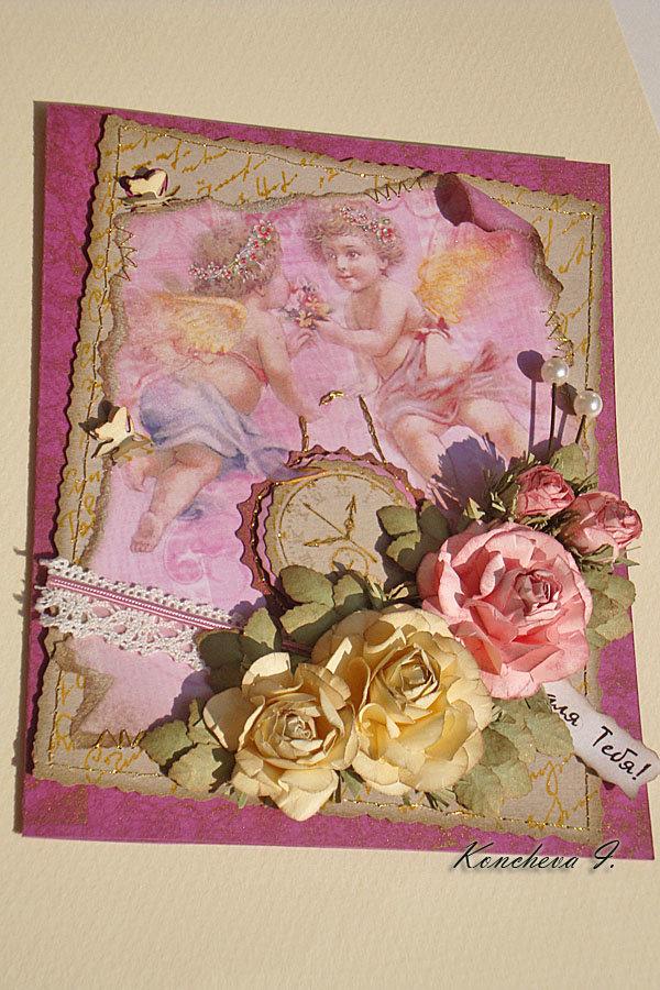 Скрап открытки с ангелами, желанная моя