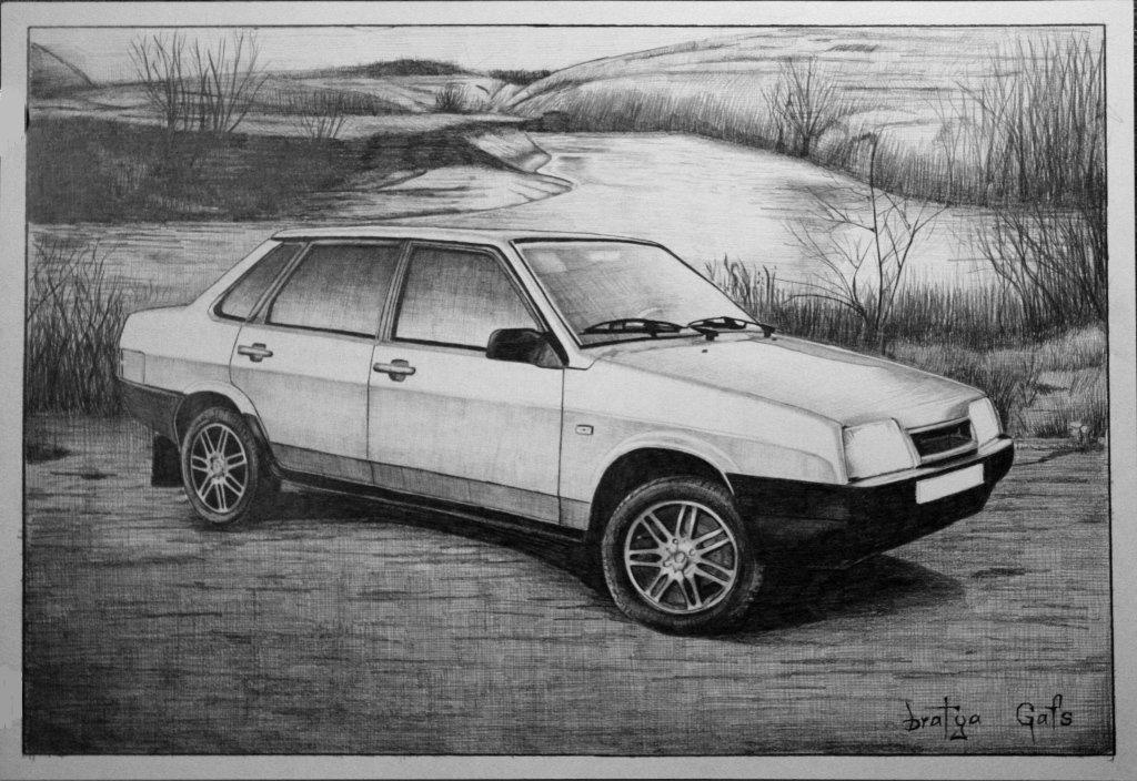 лестницу картинки рисовать машины ваз его