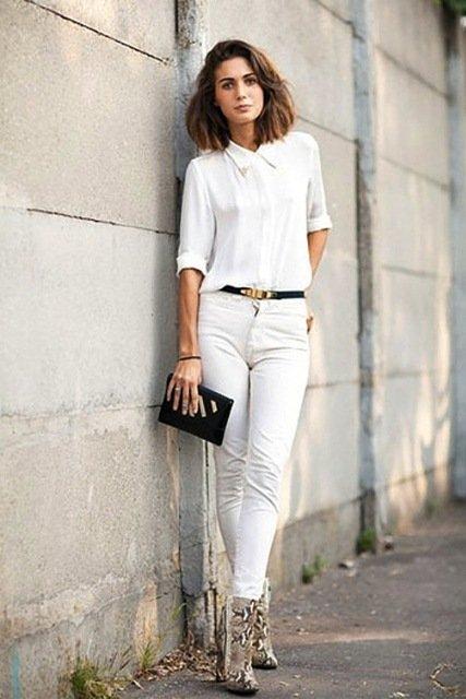 c780411da5ef Узкие белые джинсы станут отличным дополнением блузы с коротким рукавом