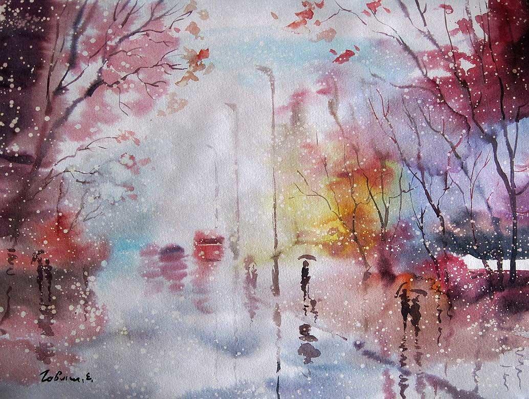 Акварель дождь картинки