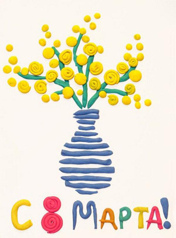Открытки своими руками на 8 марта для детей 5-6 лет