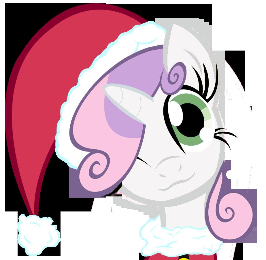 картинки пони в новогодних шапочках