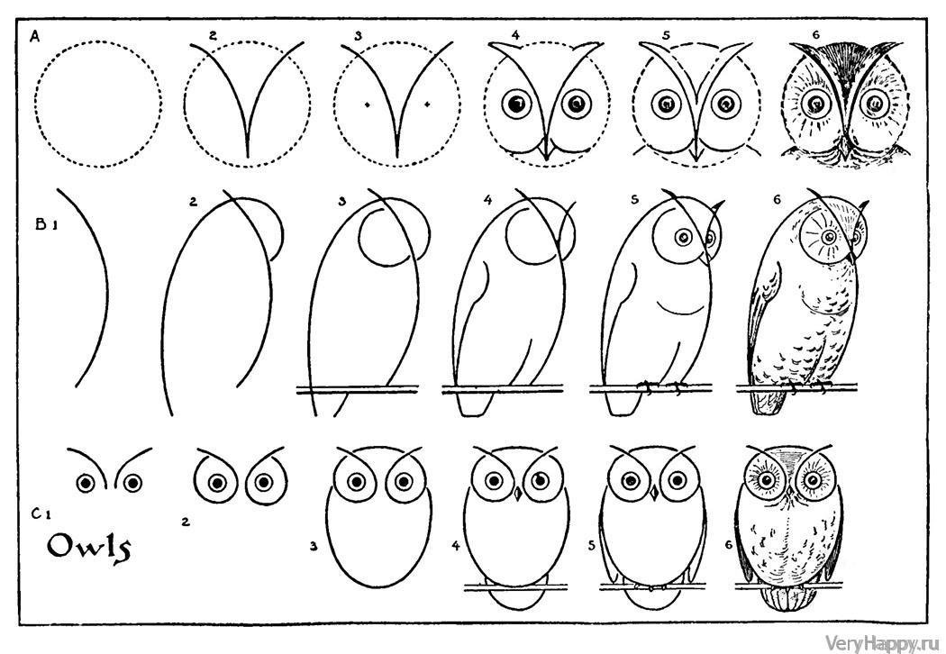 рисунки карандашом сова поэтапно картины обещали