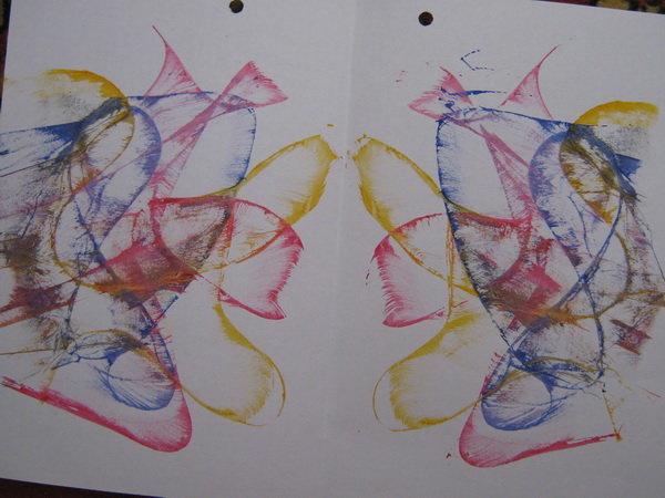 последних рисунок нитками на бумаге и краски отложите сторону фольгу