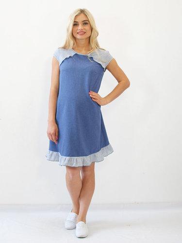d435e25c66d8 Нежно-голубое платье из креп-костюмной ткани для беременной