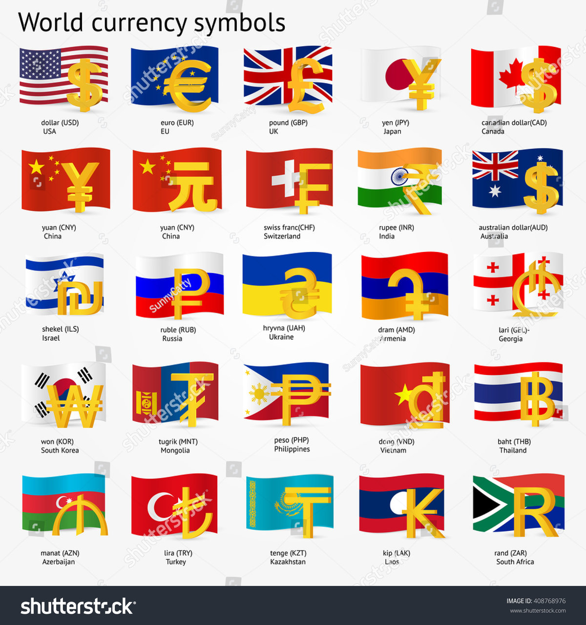 World Currency Symbols With Flag Icon Set Money Sign Icons
