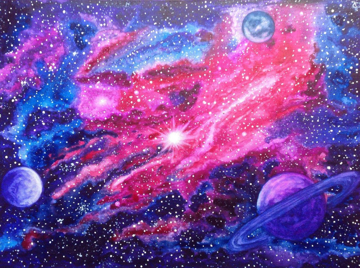 Детские рисунки галактика космос