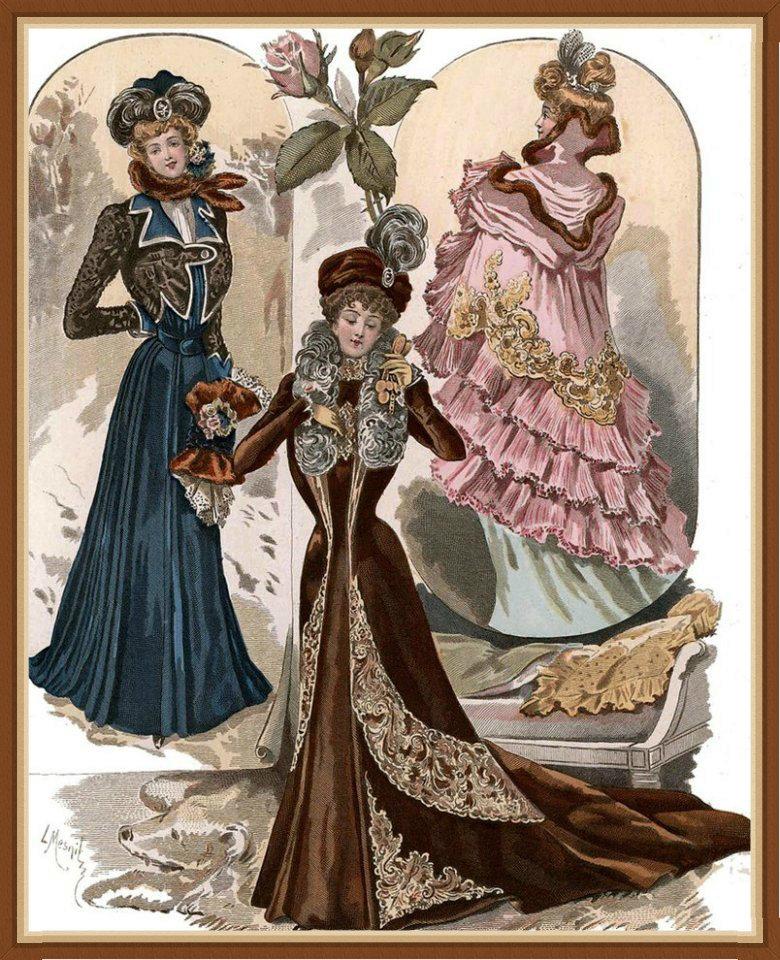 Старинные открытки мода, днем