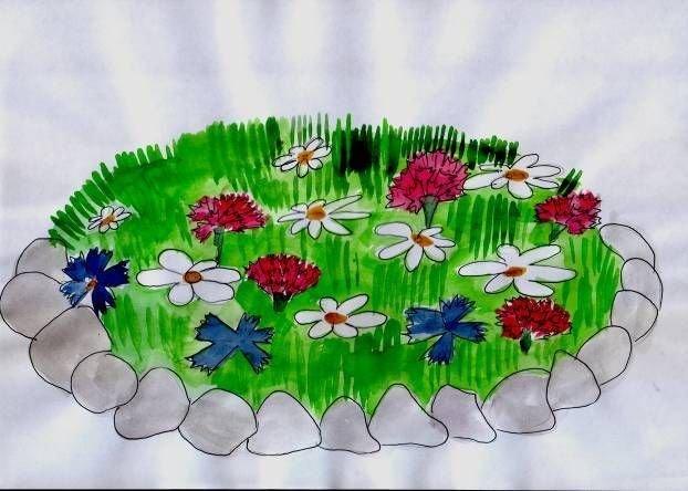Картинки для детей клумба с цветами