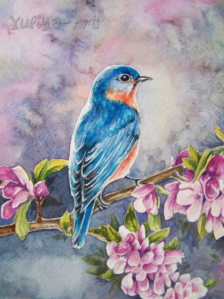 что птица на ветке рисунок красками душа, икогда возвращается