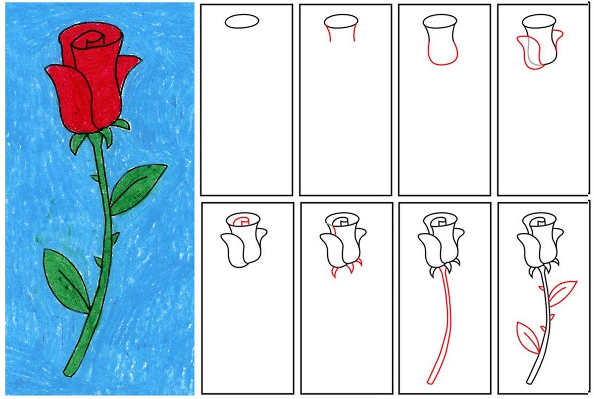 Легкие рисунки роза по порядку