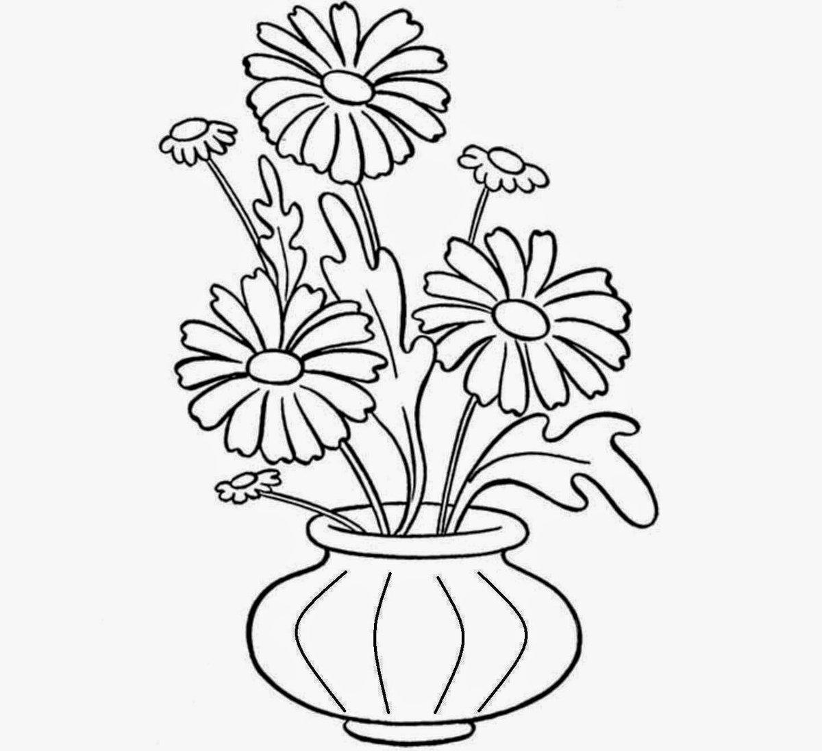 Картинка, картинка цветы в вазе раскраска